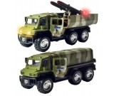Ciężarówka metalowa Army UN z rakietami - światło i dźwięk