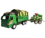 Ciężarówka wojskowa z plandeką i przyczepą