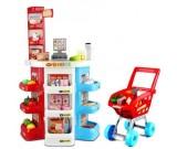 Supermarket - trzyrzędowy kasa wózek skaner i akcesoria